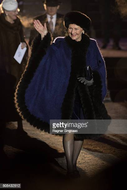 Queen Sonja of Norway attends the 25th anniversary of King Harald V and Queen Sonja of Norway as monarchs on January 17 2016 in Oslo Norway