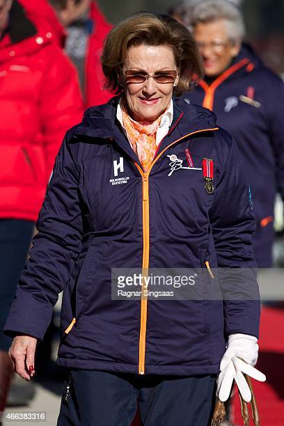 Queen Sonja of Norway attends the FIS Nordic World Cup on March 15 2015 in Oslo Norway