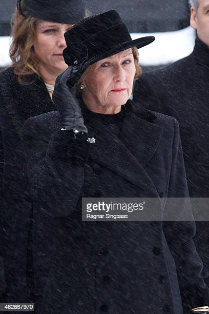 Queen Sonja of Norway attends the Funeral Service of Mr Johan Martin Ferner, on February 2, 2015 in Oslo, Norway.