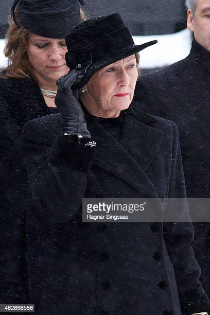 Queen Sonja of Norway attends the Funeral Service of Mr Johan Martin Ferner on February 2, 2015 in Oslo, Norway.