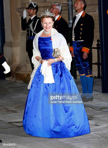Queen Sonja of Norway attends the Gala dinner for the wedding of Prince Guillaume Of Luxembourg and Stephanie de Lannoy at the Grand-ducal Palace on...