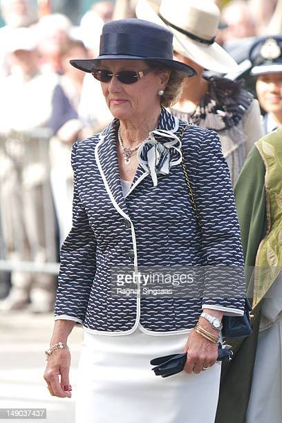 Queen Sonja of Norway attends the memorial service to mark the first anniversary of the terrorist attacks on Government buildings and Utoya on July...
