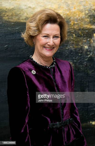 Queen Sonja Of Norway attends the opening of the Scene Norway 2 festival and the gallery exhibition at the Kings place gallery in London on November...