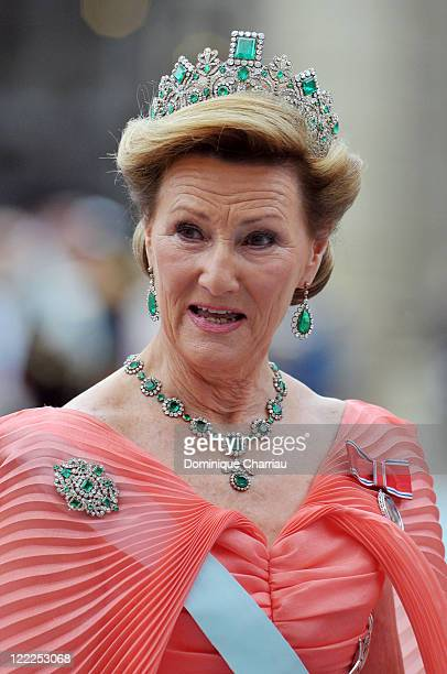 Queen Sonja of Norway attends the wedding of Crown Princess Victoria of Sweden and Daniel Westling on June 19 2010 in Stockholm Sweden