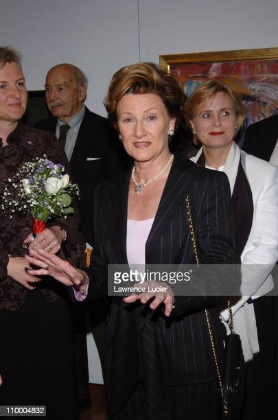 HM Queen Sonja of Norway during The King and Queen of Norway Open NORGE Contemporary Landscapes From the Collection of HM Queen Sonja of Norway at...