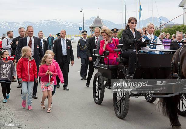 Queen Sonja of Norway in a horse drawn carriage as King Harald of Norway and Queen Sonja of Norway host King Carl Gustaf and Queen Silvia of Sweden...