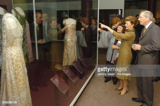 Queen Sonja of Norway is joined by the Duke of Gloucester and the Victoria Albert Museum's Head of Textiles and Dress Linda Parry