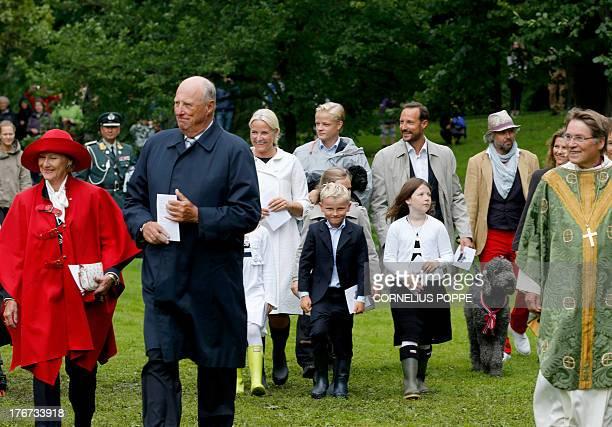 Queen Sonja of Norway King Harald Crown Princess MetteMarit Marius Borg Hoiby Princess Ingrid Alexandra Prince Sverre Magnus Crown Prince Haakon Maud...