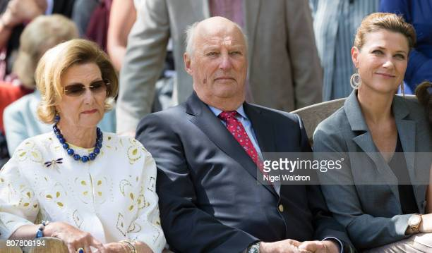 Queen Sonja of Norway King Harald of Norway and Princess Martha Louise of Norway attend the unveiling of Norwegian Trekking Association gift for The...