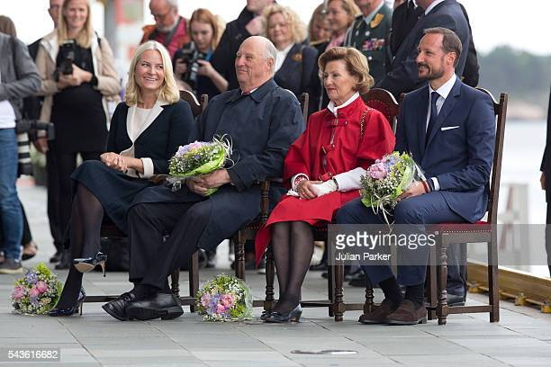Queen Sonja of Norway King Harald of Norway Crown Prince Haakon and Crown Princess MetteMarit of Norway on a visit to Kristiansand during the King...