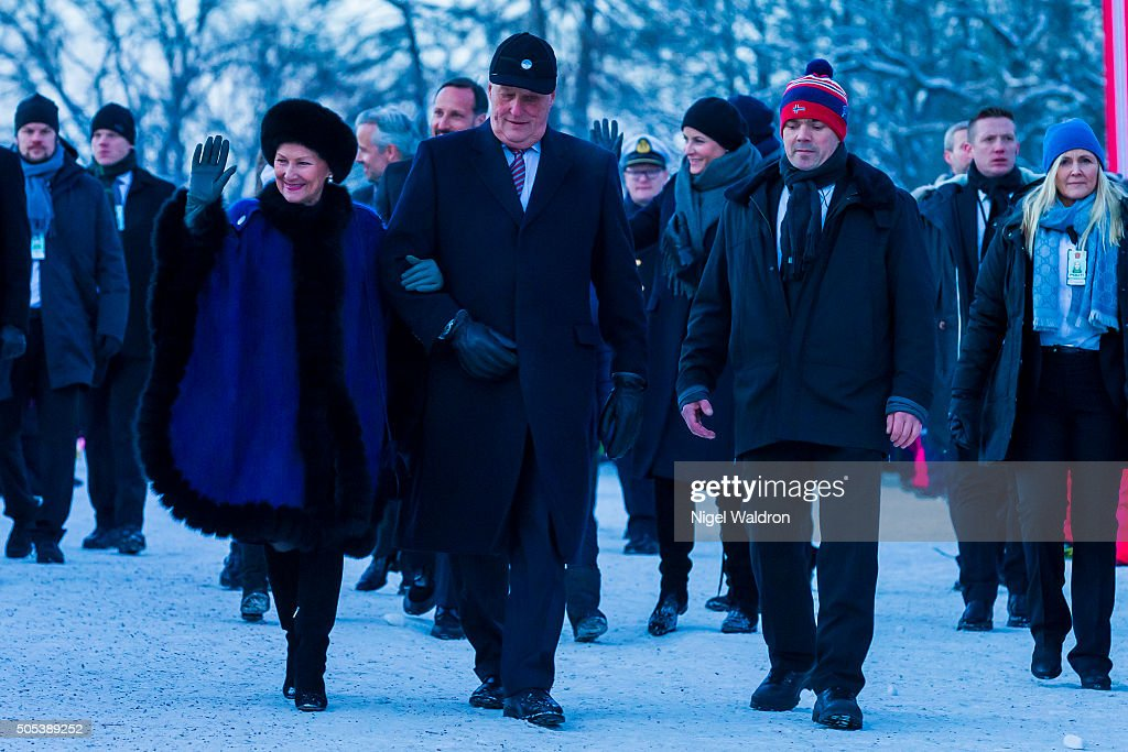 Queen Sonja of Norway, King Harald of Norway walk from the royal palace to the university for the gala reception during the Celebration of the 25th anniversary of King Harald and Queen Sonja of Norway on January 17, 2016 in Oslo, Norway.