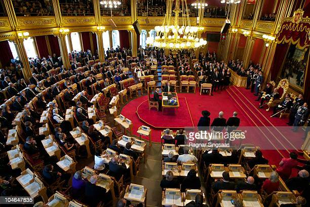 Queen Sonja of Norway King Harald V of Norway and Prince Haakon of Norway attend the opening of the Norwegian Parliament 'Storting' on October 2 2010...