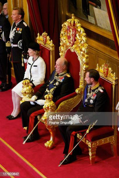 Queen Sonja of Norway, King Harald V of Norway and Prince Haakon of Norway attend the opening of the 156th Stortinget at Storting on October 3, 2011...