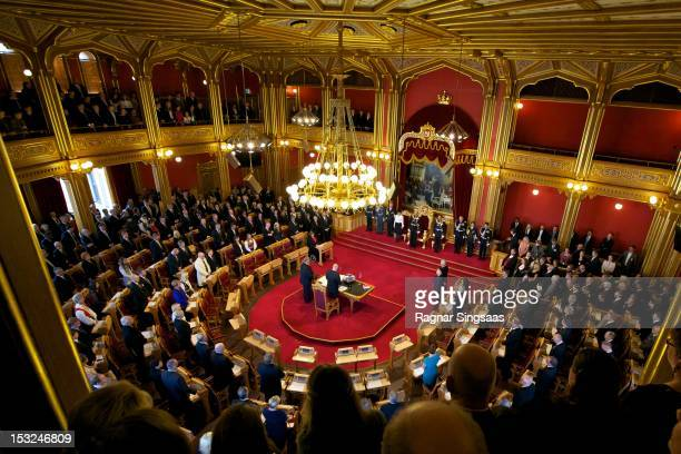 Queen Sonja of Norway, King Harald V of Norway and Prince Haakon of Norway attend the opening of the 157th Storting on October 2, 2012 in Oslo,...
