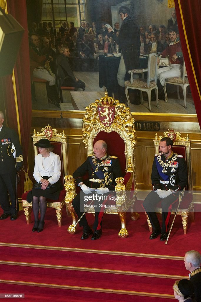 Queen Sonja of Norway, King Harald V of Norway and Prince Haakon of Norway attend the opening of the 157th Storting on October 2, 2012 in Oslo, Norway.