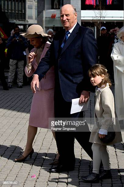 Queen Sonja of Norway, King Harald V of Norway and Princess Ingrid Alexandra of Norway attend the reopening of Oslo Cathedral, which has been closed...