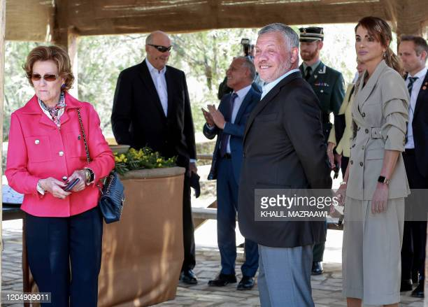 Queen Sonja of Norway King Harald V of Norway King Abdullah II of Jordan and Queen Rania of Jordan arrive at the baptism site of alMaghtas where...