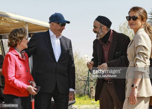 Queen Sonja of Norway King Harald V of Norway Prince Ghazi bin Muhammad and Queen Rania of Jordan visit the baptism site of alMaghtas where Jesus is...