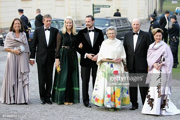 Queen Sonja of Norway King Harald V of Norway Princess Astrid of Norway Prince Haakon of Norway Princess MetteMarit of Norway and two unidentified...