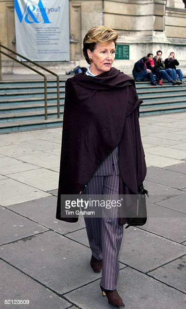 Queen Sonja of Norway leaving the 'Style and Splendour Queen Maud of Norway's Wardrobe 18961938' exhibition at the Victoria and Albert Museum...