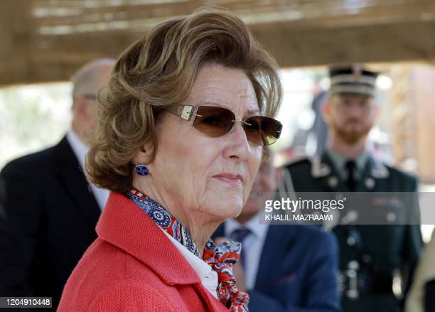 Queen Sonja of Norway looks on as she visits the baptism site of alMaghtas where Jesus is believed by Christians to have been baptised by John the...
