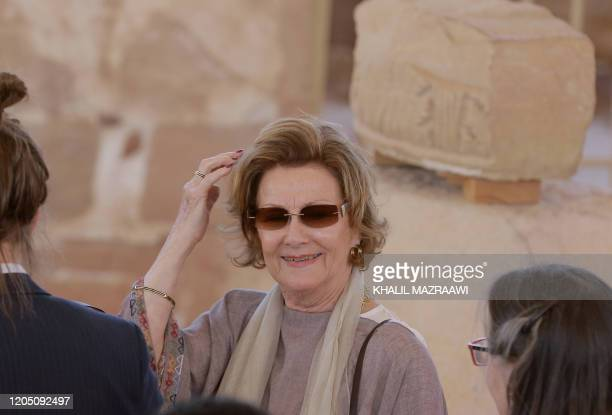 Queen Sonja of Norway looks on during her visit to Jordan's archaeological city of Petra south of the capital Amman on March 4 2020