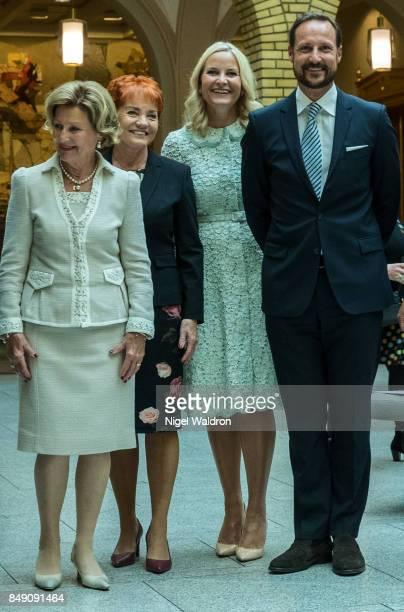 Queen Sonja of Norway Marit Nybakk of Norway Princess Mette Marit of Norway Prince Haakon of Norway attend the unveiling of the Norwegian Parliaments...