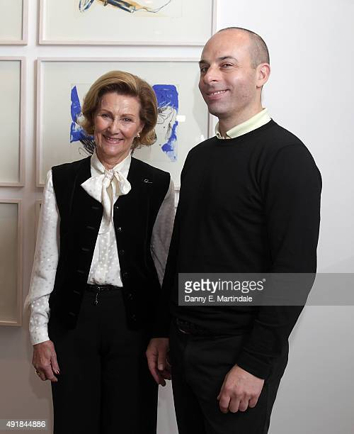 Queen Sonja of Norway meets Danish artist Adam Saks during an official visit to London at RIBA on October 8, 2015 in London, England.