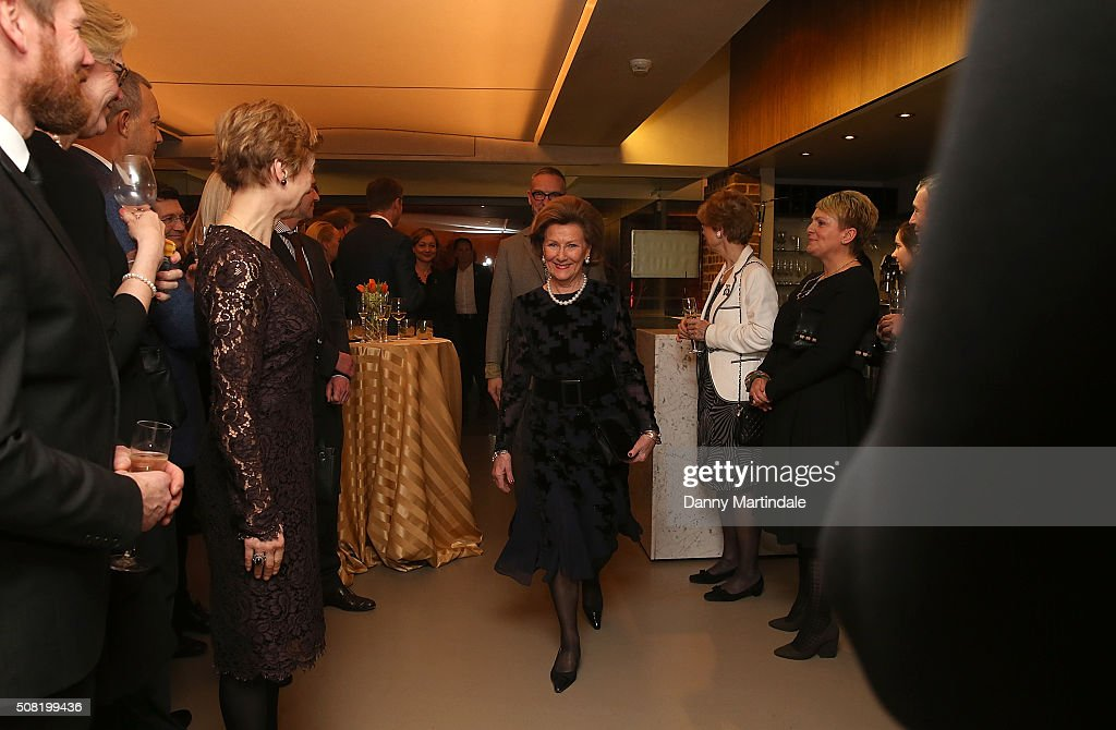 Queen Sonja of Norway Opens Nikolai Astrup: Painting Norway Exhibition at Dulwich Picture Gallery on February 3, 2016 in London, England.