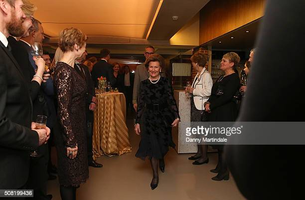 Queen Sonja of Norway Opens Nikolai Astrup Painting Norway Exhibition at Dulwich Picture Gallery on February 3 2016 in London England