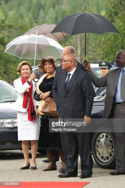 Queen Sonja of Norway, South Africa First Lady Thobeka Madiba, King Harald V of Norway and South Africa President Jacob Zuma visit the Holmenkollen...