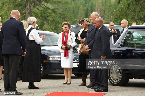 Queen Sonja of Norway South Africa First Lady Thobeka Madiba King Harald V of Norway and South Africa President Jacob Zuma visit the Holmenkollen Ski...