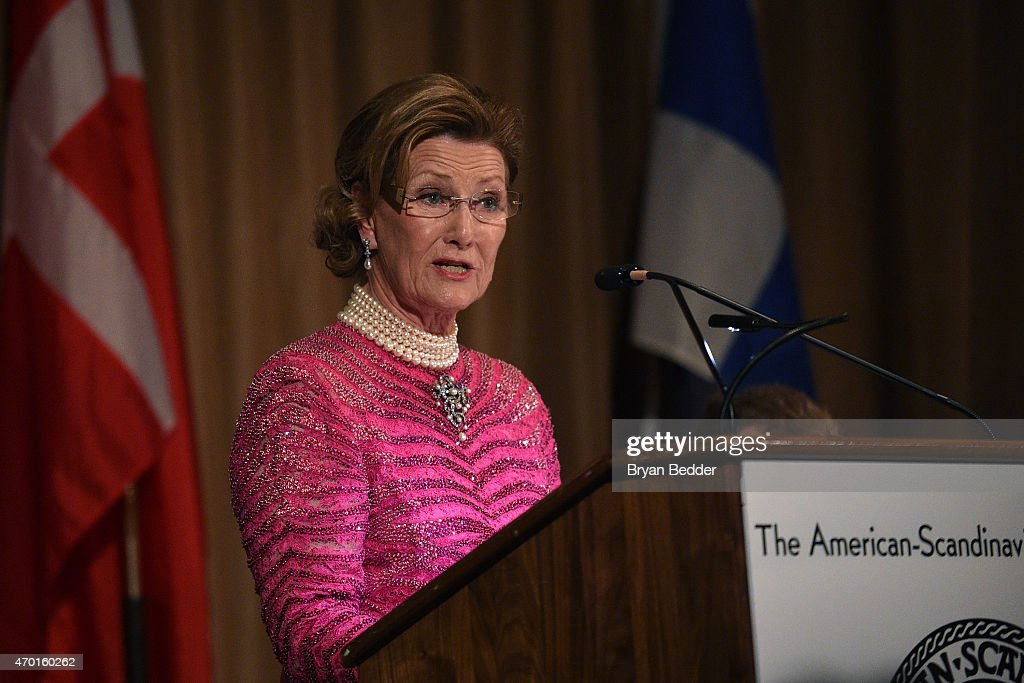 Queen Sonja of Norway speaks onstage at the American-Scandinavian Foundation Gala Dinner at The Pierre Hotel on April 17, 2015 in New York City.