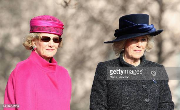 Queen Sonja of Norway talks to Camilla Duchess of Cornwall talk during a wreath laying at the National Monument at Akershus Fortress on March 20 2012...