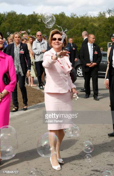 Queen Sonja of Norway visits a science centre in Tromso Norway where children were playing with bubbles as part of a display when they arrived at the...