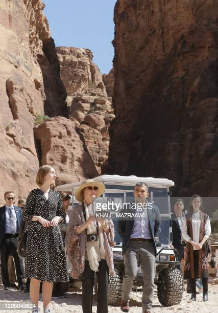 Queen Sonja of Norway visits Jordan's archaeological city of Petra south of the capital Amman on March 4 2020