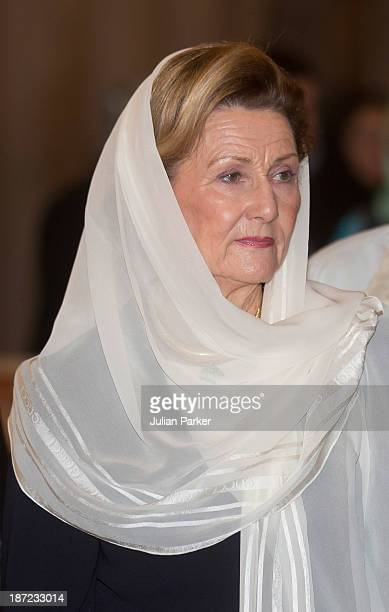 Queen Sonja of Norway visits the Blue Mosque on day three of their state visit to Turkey on November 7 2013 in Istanbul Turkey