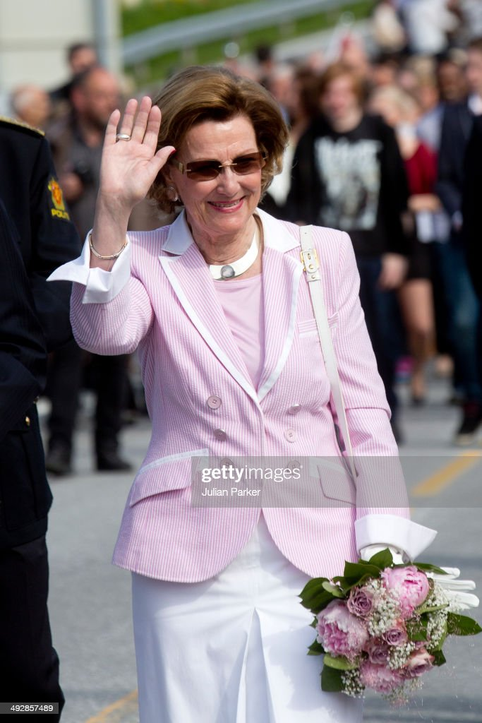 Queen Sonja of Norway visits the community of Aure on May 21, 2014 in More And Romsdal County, Norway. King Harald And Queen Sonja Of Norway are on a two day visit of the county of More & Romsdal in Norway.