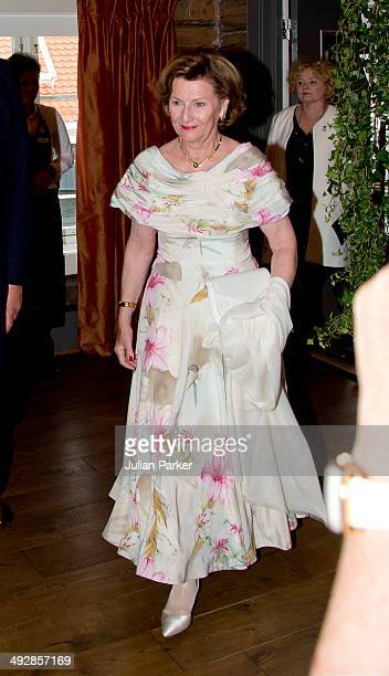 Queen Sonja of Norway visits the community of Gjemnes on May 21 2014 in More And Romsdal County Norway King Harald And Queen Sonja Of Norway are on a...