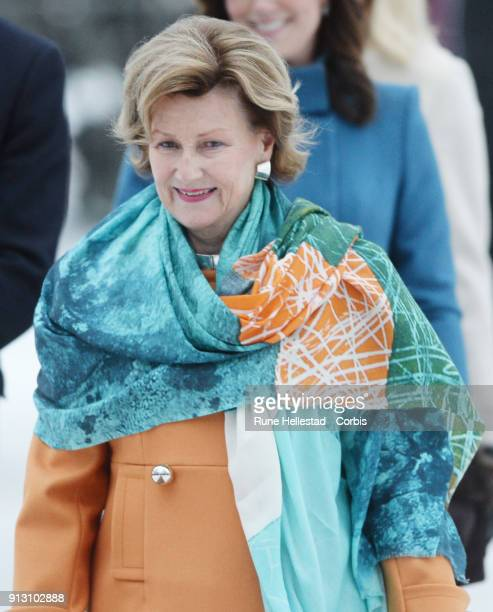 Queen Sonja of Norway visits the Princess Ingrid Alexandra Sculpture Park on day 3 of the Duke and Duchess of Cambridge's visit to Sweden and Norway...
