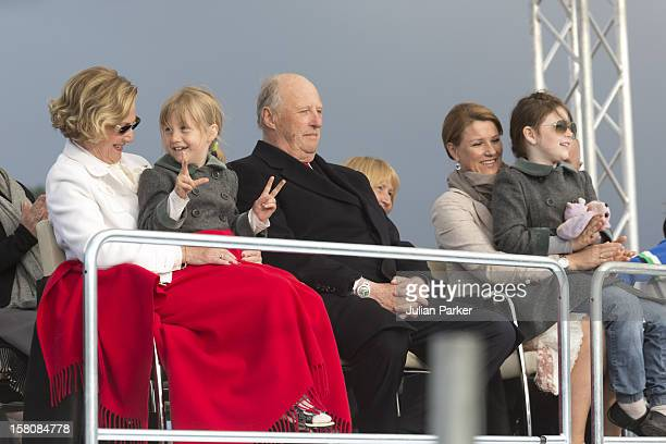 Queen Sonja With Her Grandchild Leah Isadora And King Harald Of Norway Princess Martha Louise And Maud Angelica Attend A Concert At Oslo Opera House...