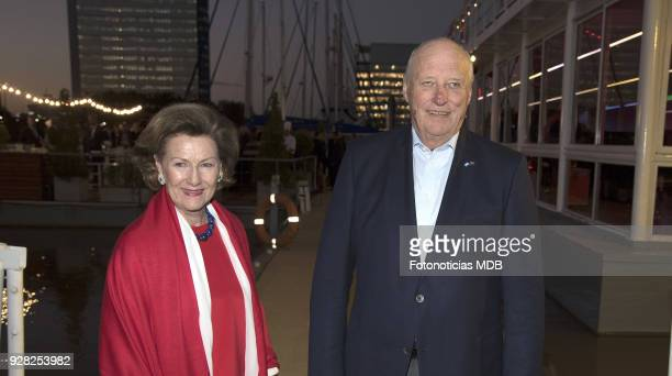 Queen Sonjia of Norway and King Harald of Norway attend the Innovation Norway dinner at Puerto Madero Yacht Club on March 6 2018 in Buenos Aires...