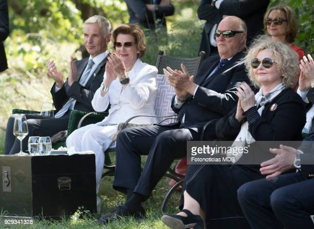 Queen Sonjia of Norway and King Harald of Norway watch a traditional music and dance show as they visit 'Villa Maria' country house and hotel on...