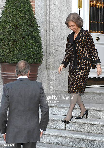 Queen Sophia and King Juan Carlos receive the President of the Philippines Gloria Macapagal and her husband Jose Miguel Arroyo at Zarzuela Palace...