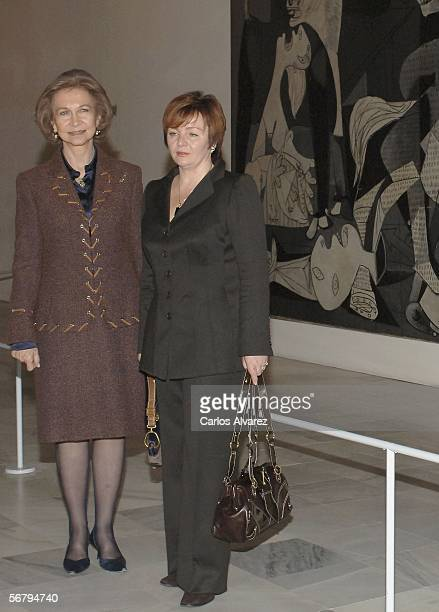 Queen Sophia of Spain and President Vladimir Putin's wife Lyudmila Putin visit the Queen Sofia Museum on February 9 2006 in Madrid Spain