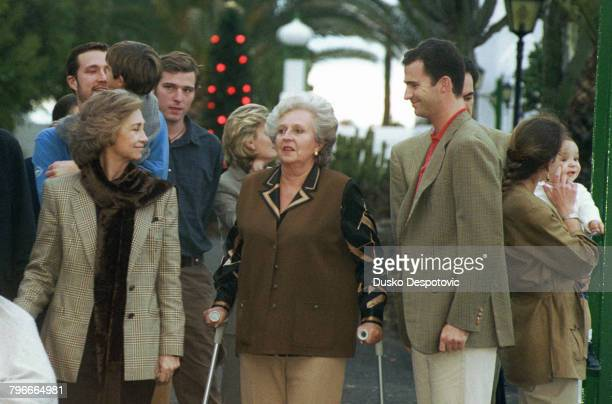 Queen Sophia the Infanta MariaPilar the Infante Felipe and behind Luis Gomez Acebo