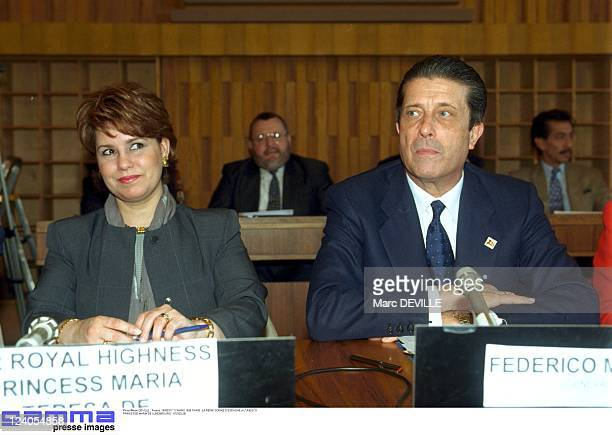 Queen Sophie of Spain at UNESCO In Paris France On March 17 1999 With Princess Maria Theresa of Luxembourg