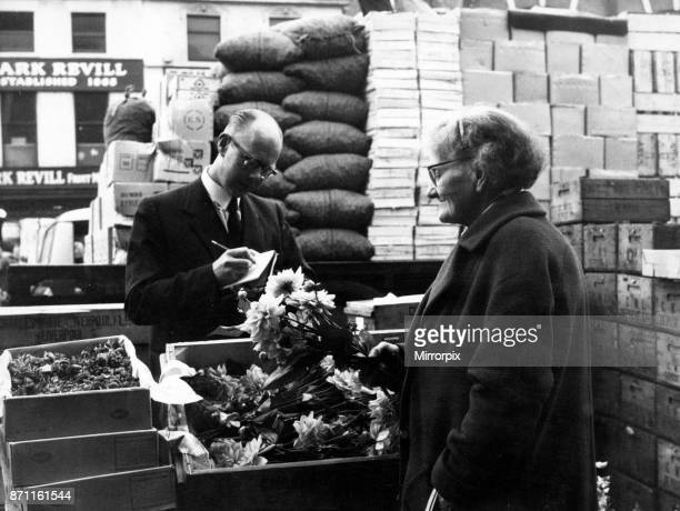 Queen Square Market Liverpool 28th September 1960 Mrs Janet Bigmore has worked in the Queen Square market for nearly 60 years Here she is buying...