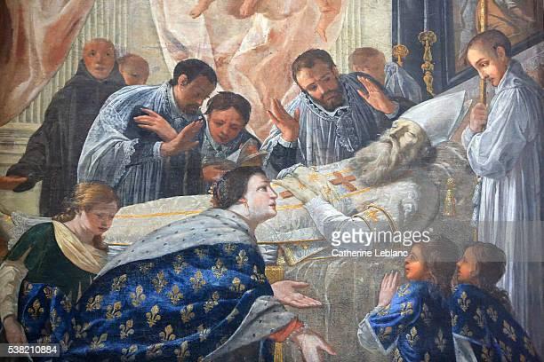 queen st. bathilde beside saint-eloi, patron of goldsmiths, dying. painting by jean senelle. 1648. meaux cathedral - saint eloi bildbanksfoton och bilder