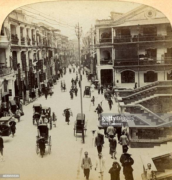 Queen Street Hong Kong China 1896 Detail from a stereoscopic card